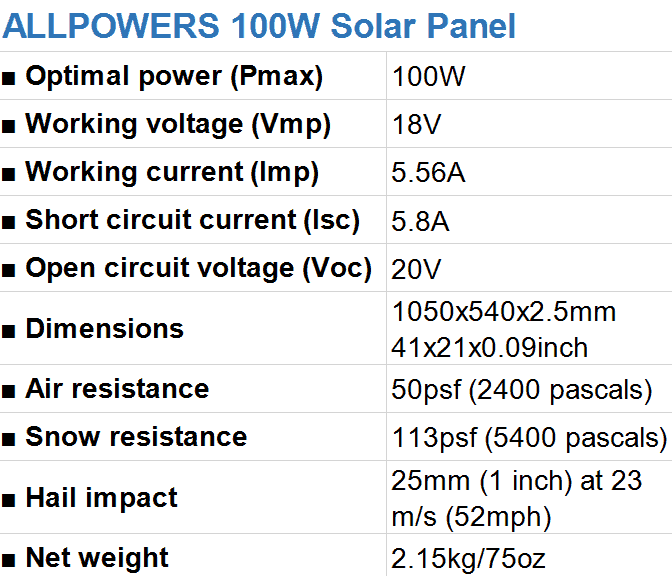 ALLPOWERS 100W Flexible Solar Panel Specifications
