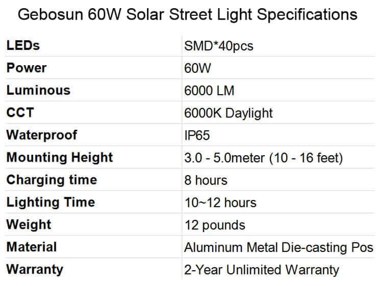 Best Solar Street Lights Gebosun 60W Solar Street Light Specifications