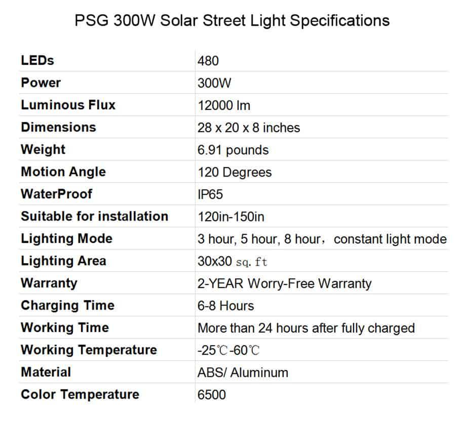 Best Solar Street Lights PSG 300W Solar Street Lights Specifications