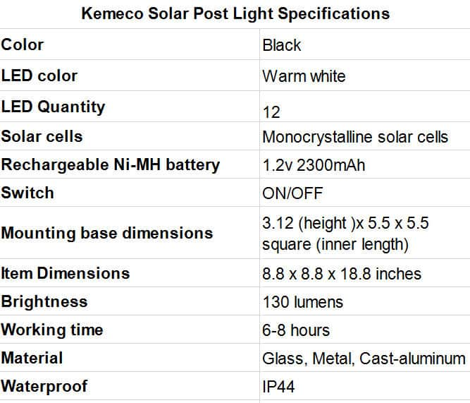 Kemeco Solar Post Light Specifications