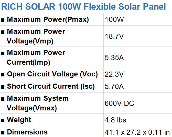 RICH SOLAR 100 Watt Flexible Solar Panel