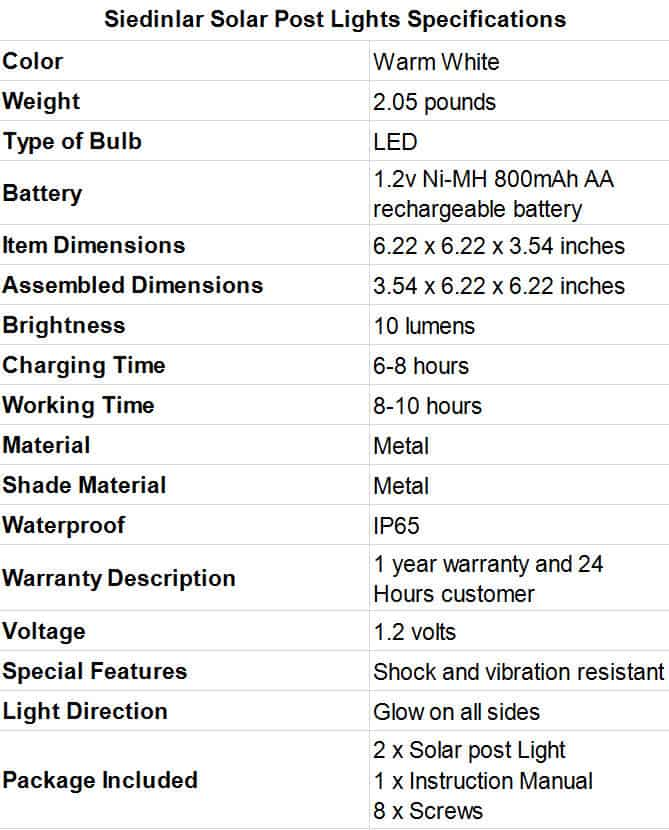 Siedinlar Solar Post Lights Specifications