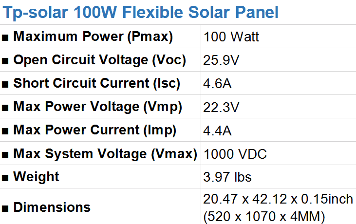 Tp-solar 100W Flexible Solar Panel Specifications