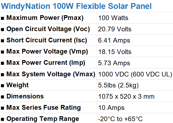 WindyNation 100 Watt Flexible Solar Panel Specifications