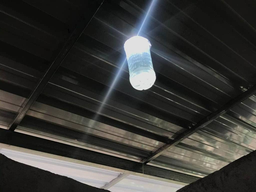 solar bottle bulb at night