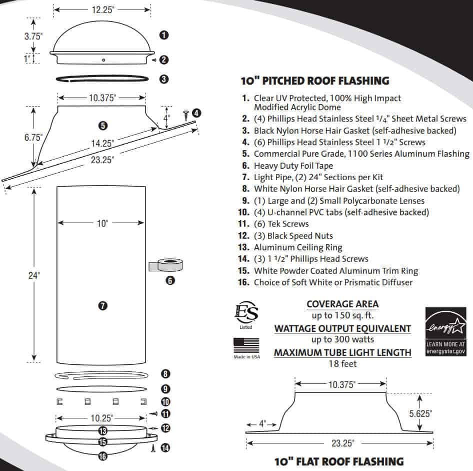 Natural Light 10 inch Solar Tube Specification