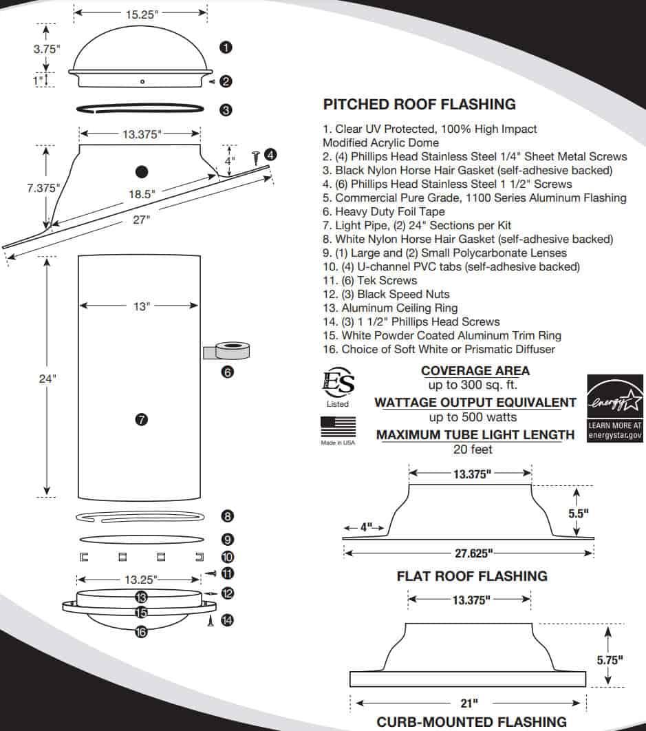 Natural Light 13 inch Solar Sky Light Kit Specifications