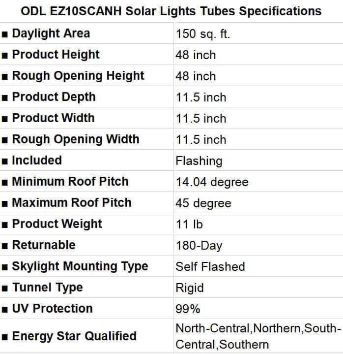ODL EZ10SCANH Solar Lights Tubes Specification