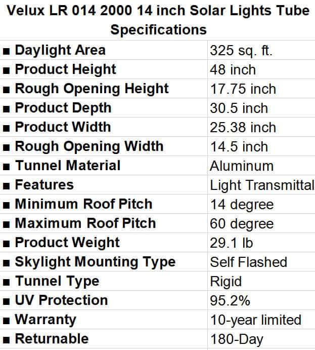 Velux LR 014 2000 Solar Lights Tube Specifications