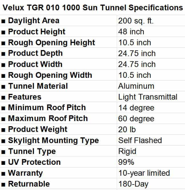 Velux TGR 010 1000 Sun Tunnel Specifications