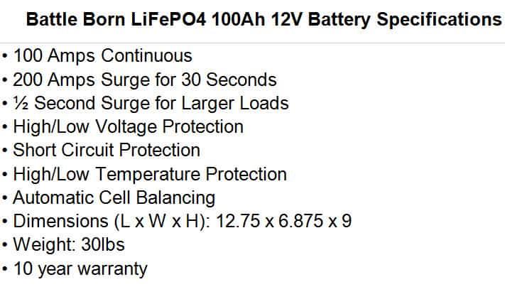Battle Born LiFePO4 100Ah 12V Battery Specifications