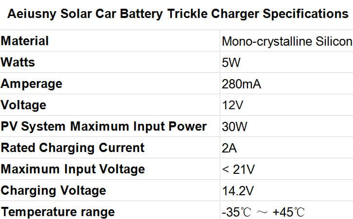 Best Solar Car Battery Charger Aeiusny Solar Trickle Charger for Car Battery Specifications