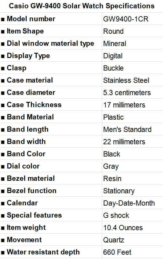 Casio GW-9400 Solar Watch Specifications