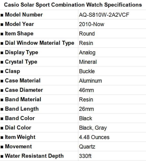 Casio Men's Solar Sport Combination Watch Specification
