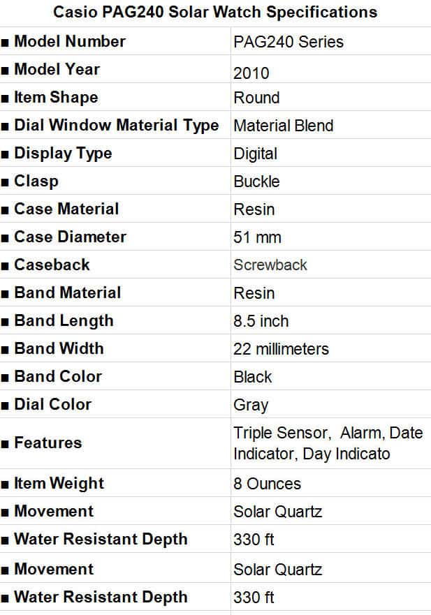 Casio PAG240 Solar Watch Specification