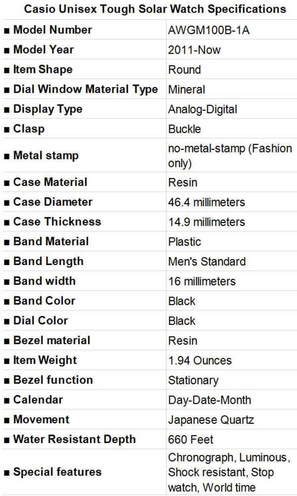 Casio Unisex Tough G-Shock Solar Watch Specifications