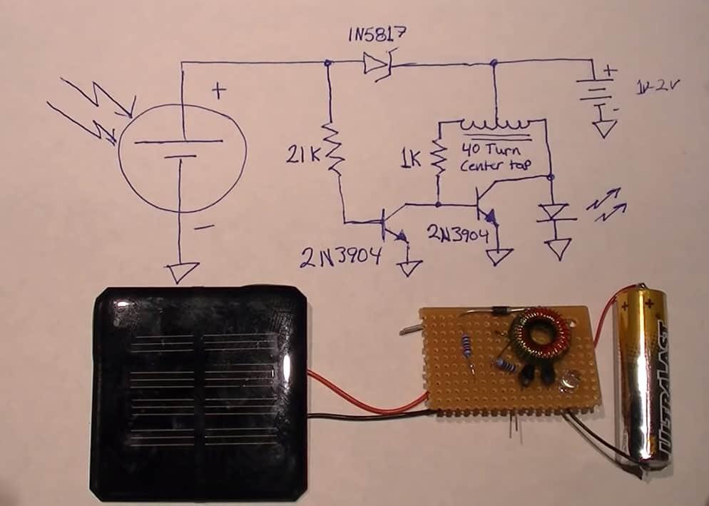 DIY Solar Light Circuit using Joule Thief model