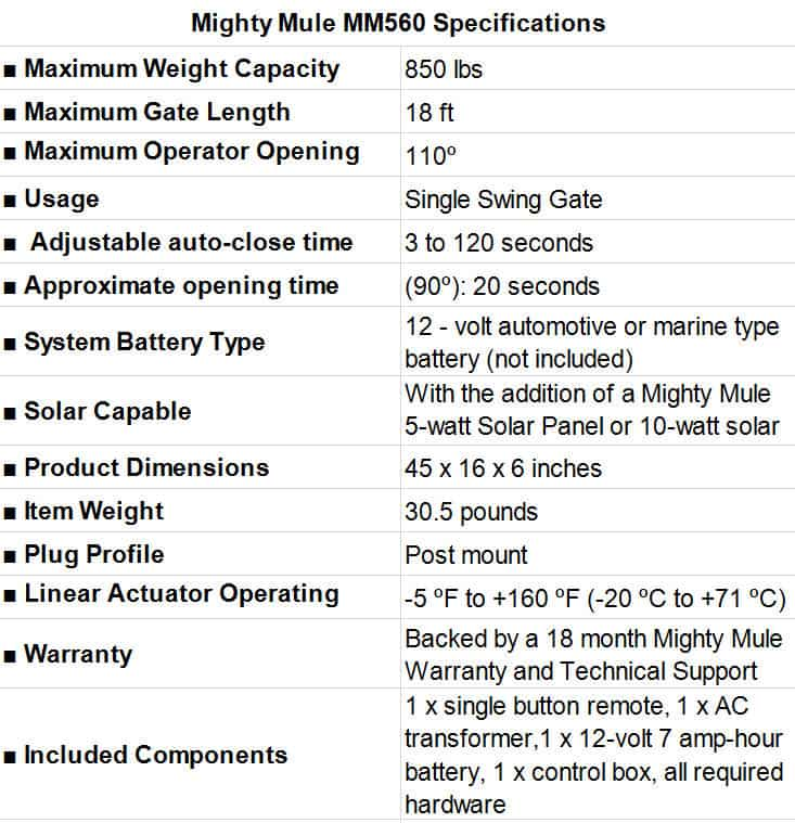 Mighty Mule MM560 Specifications