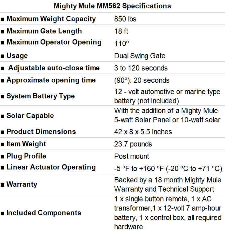 Mighty Mule MM562 Specifications