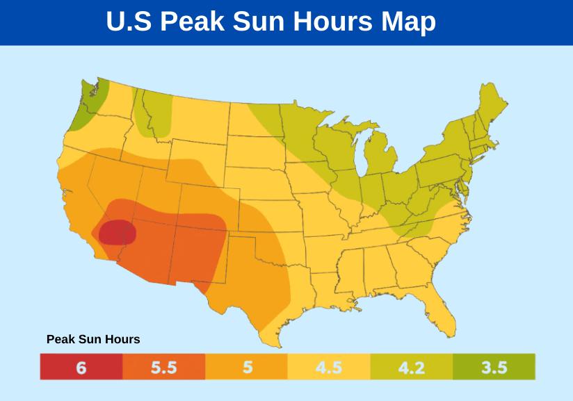 Peak Sun Hours Map