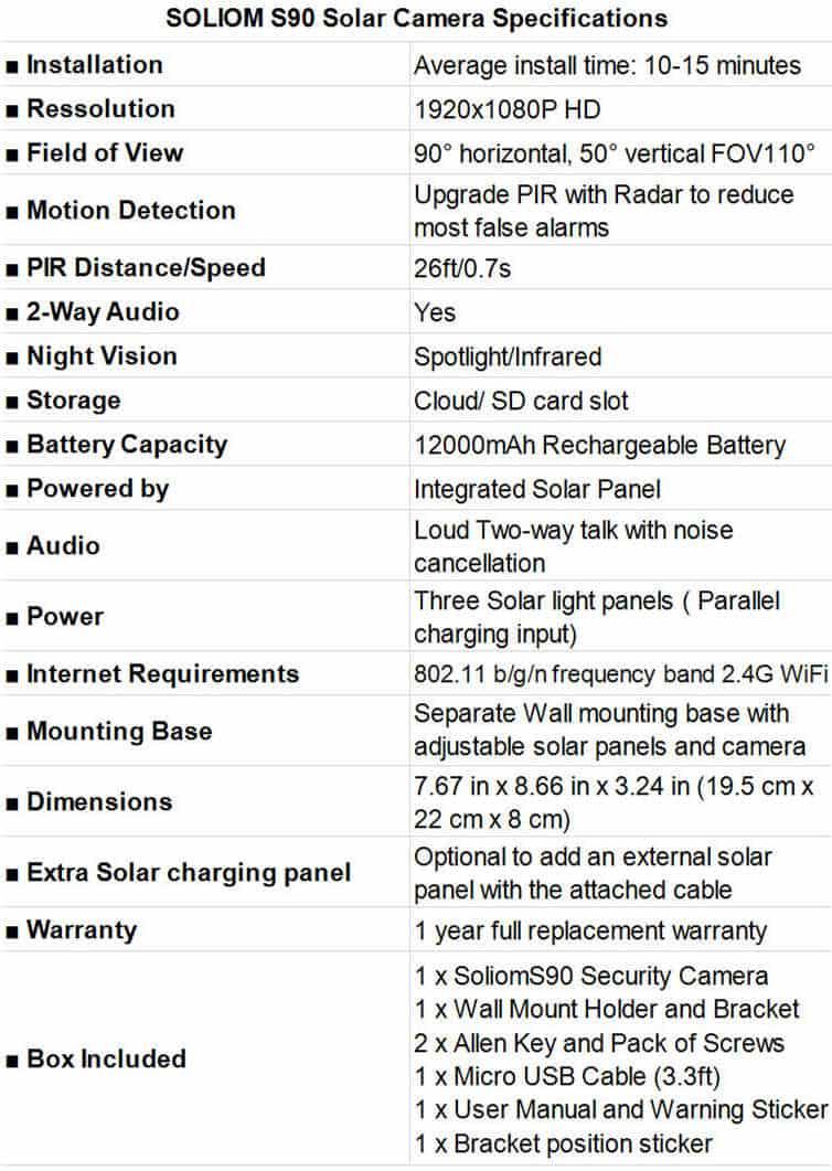 SOLIOM S90 Solar Camera Specifications
