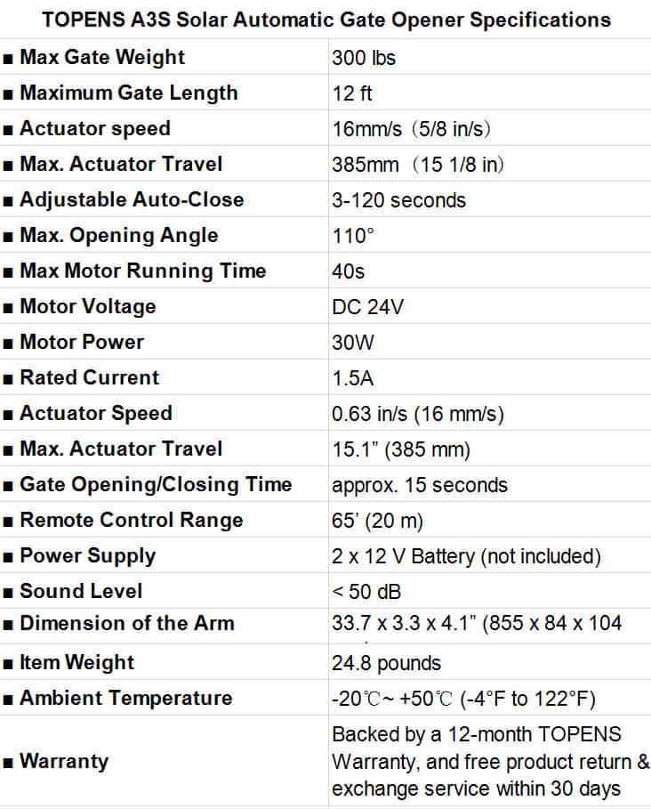 TOPENS A3S Solar Automatic Gate Opener Specifications