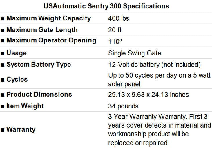 USAutomatic Sentry 300 Specifications