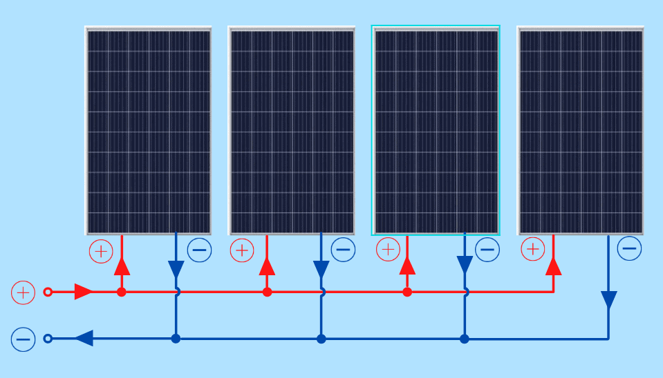 Wire solar panels in parallel