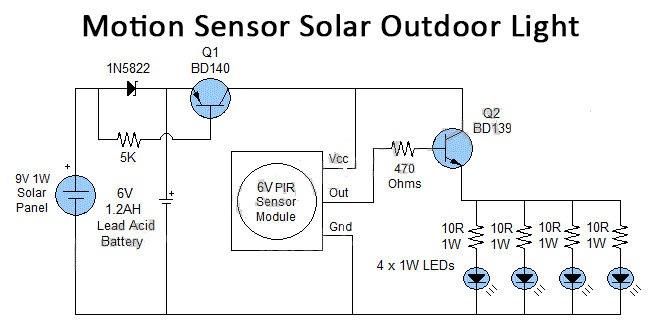 automatic solar street light controller circuit diagram