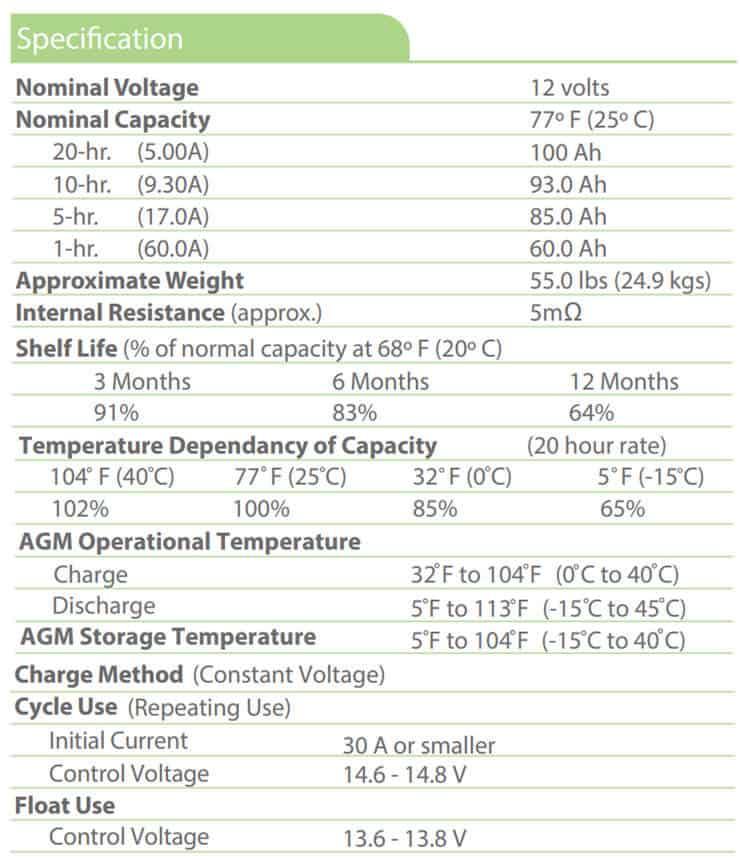 best solar battery Universal Power Group 12V 100Ah Solar Battery Specifications