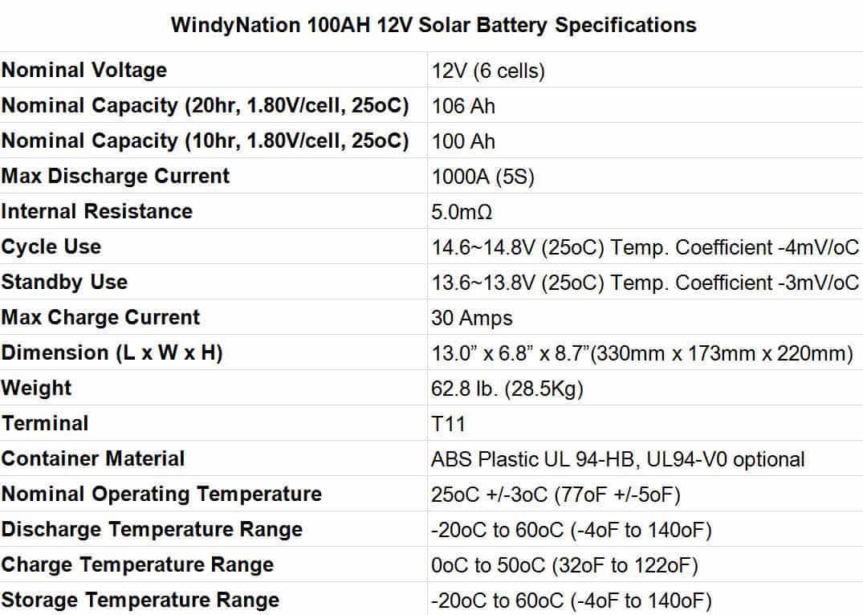 best solar battery WindyNation 100AH 12V Solar Battery Specifications
