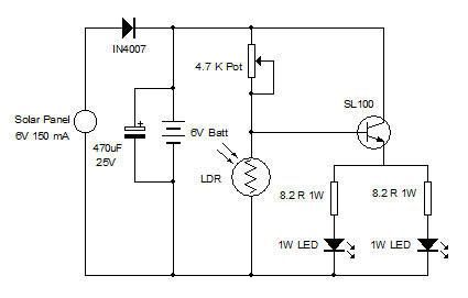 diy solar led light circuit