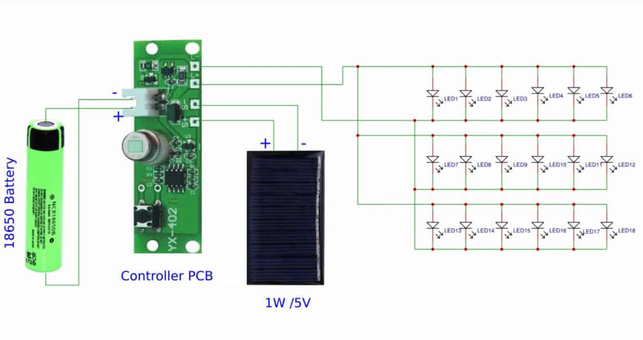 solar light circuit diagram