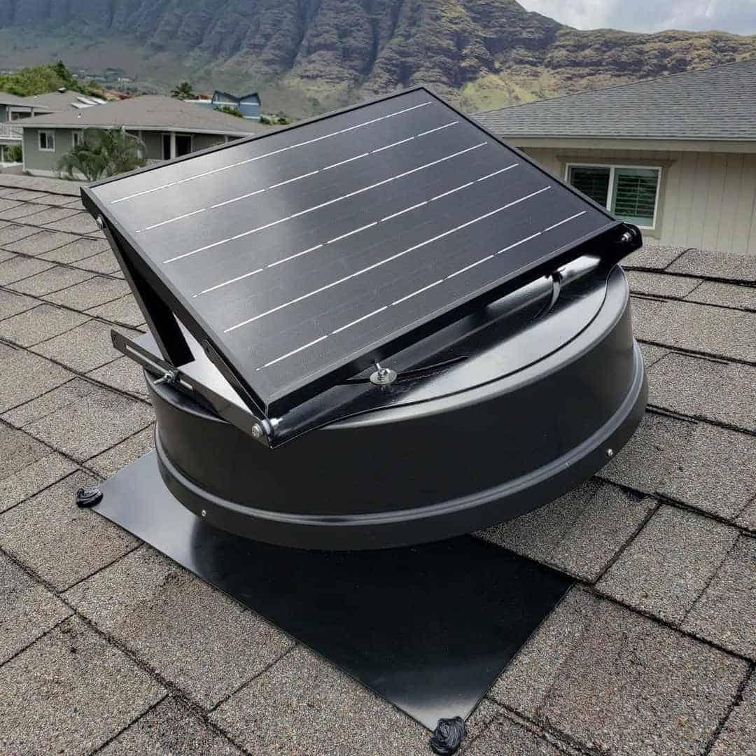 solar attic fan install